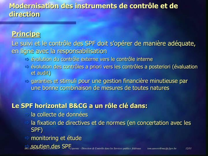 Modernisation des instruments de contrôle et de direction