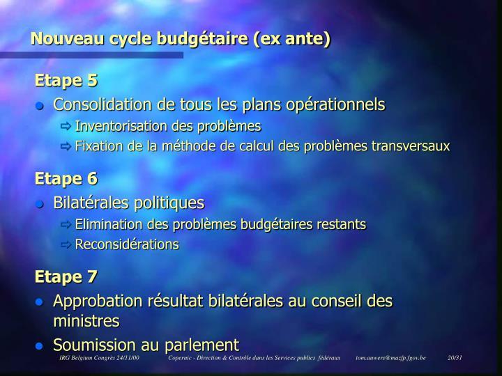 Nouveau cycle budgétaire (ex ante)
