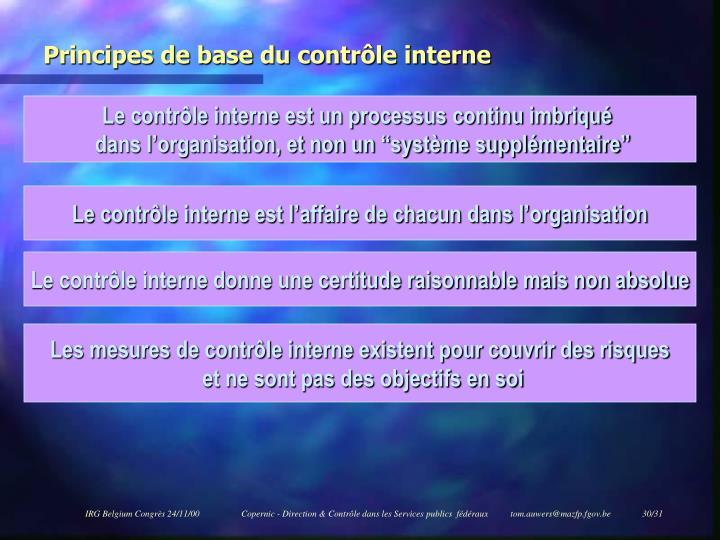 Principes de base du contrôle interne