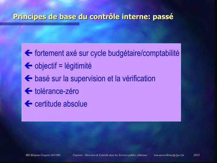 Principes de base du contrôle interne: passé