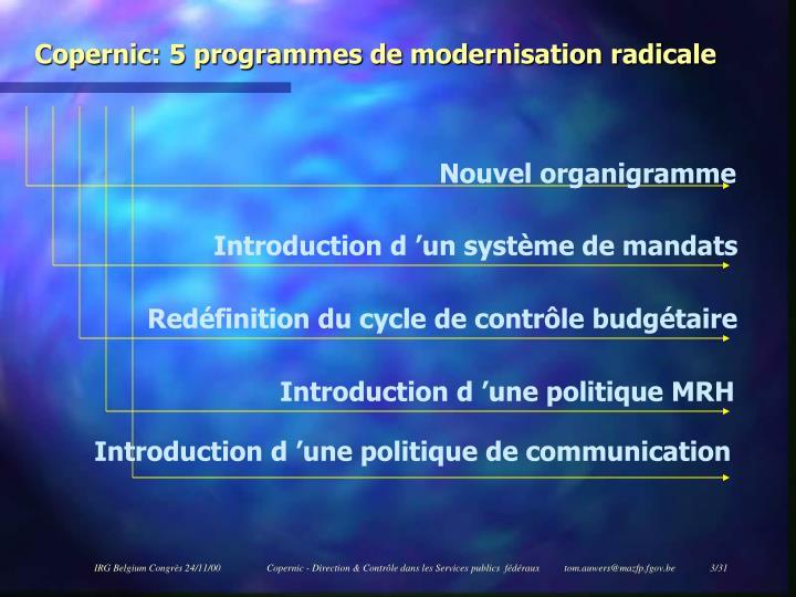 Copernic: 5 programmes de modernisation radicale