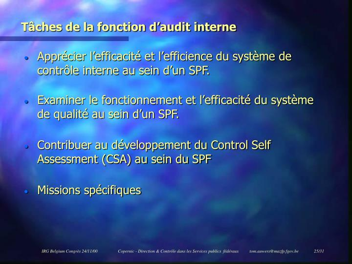 Tâches de la fonction d'audit interne