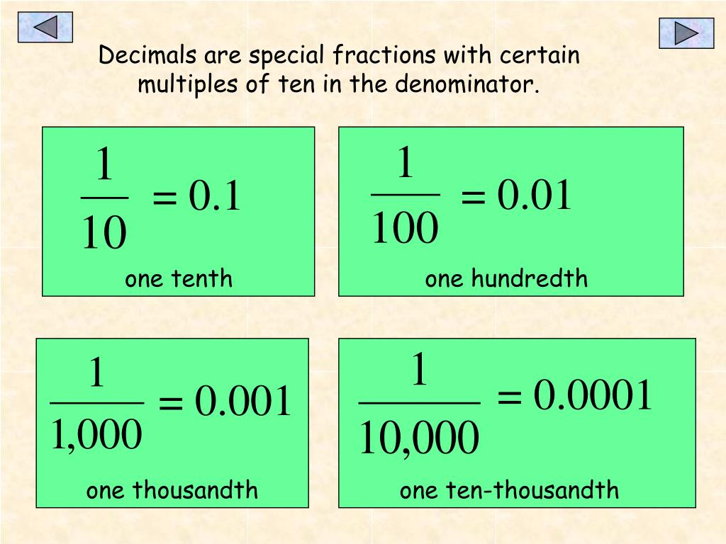 Decimals are special fractions with certain multiples of ten in the denominator.