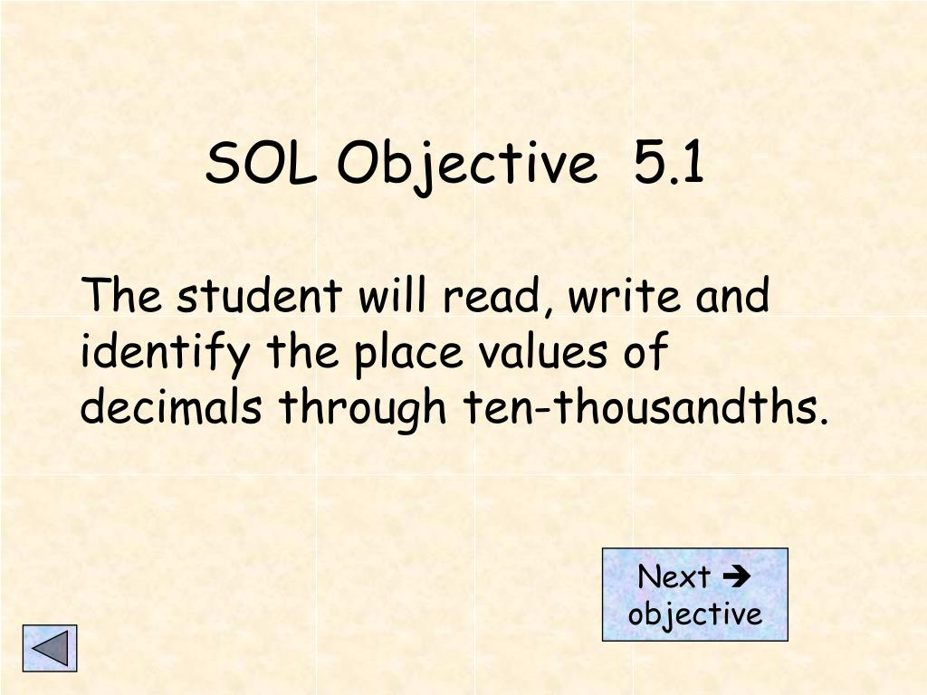 SOL Objective  5.1