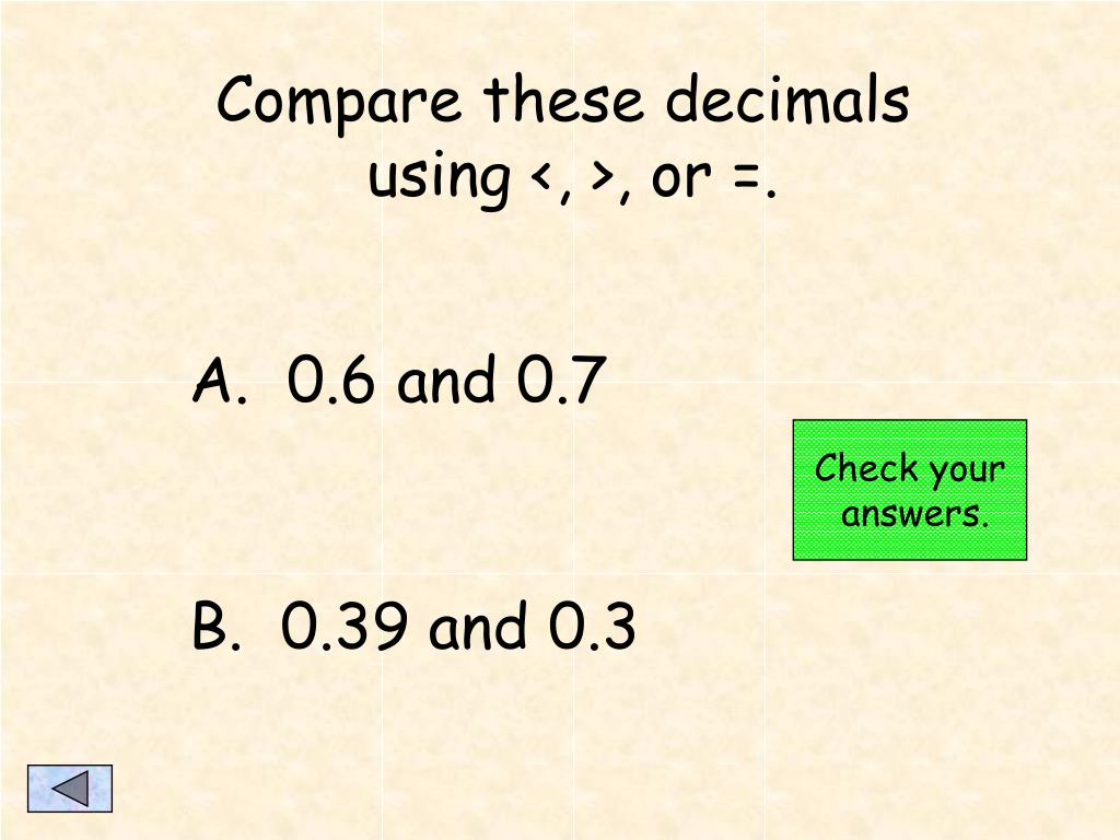 Compare these decimals