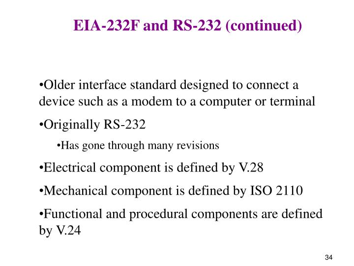 EIA-232F and RS-232 (continued)