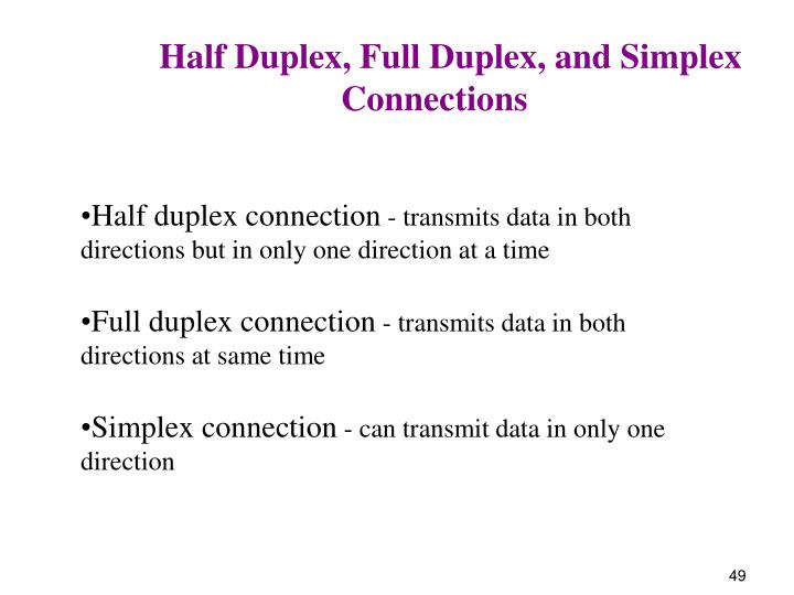 Half Duplex, Full Duplex, and Simplex