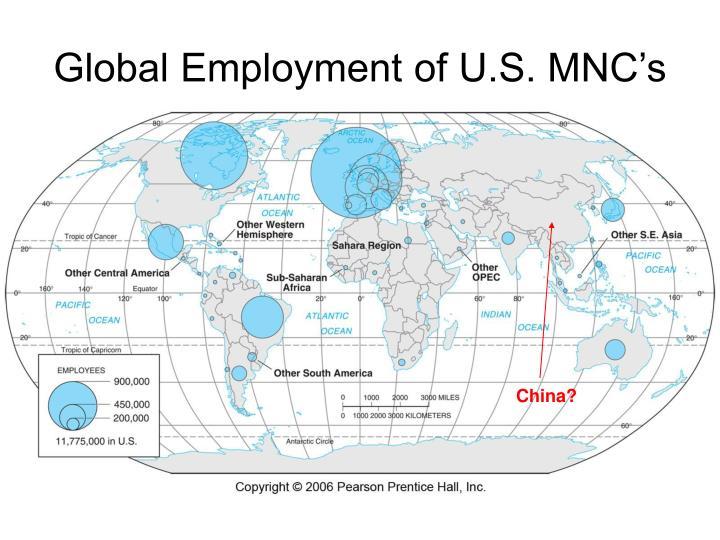 Global Employment of U.S. MNC's