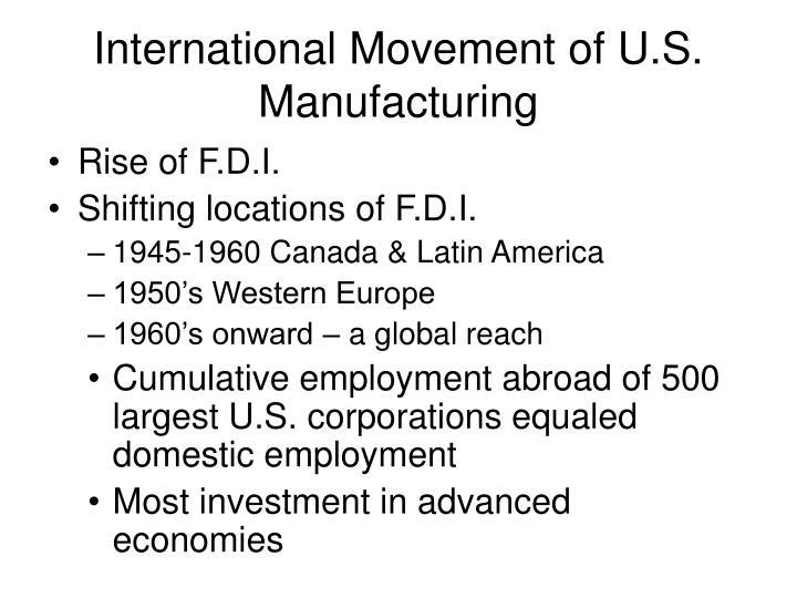 International Movement of U.S. Manufacturing