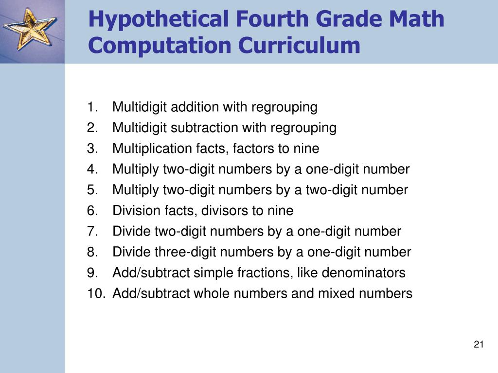 Hypothetical Fourth Grade Math
