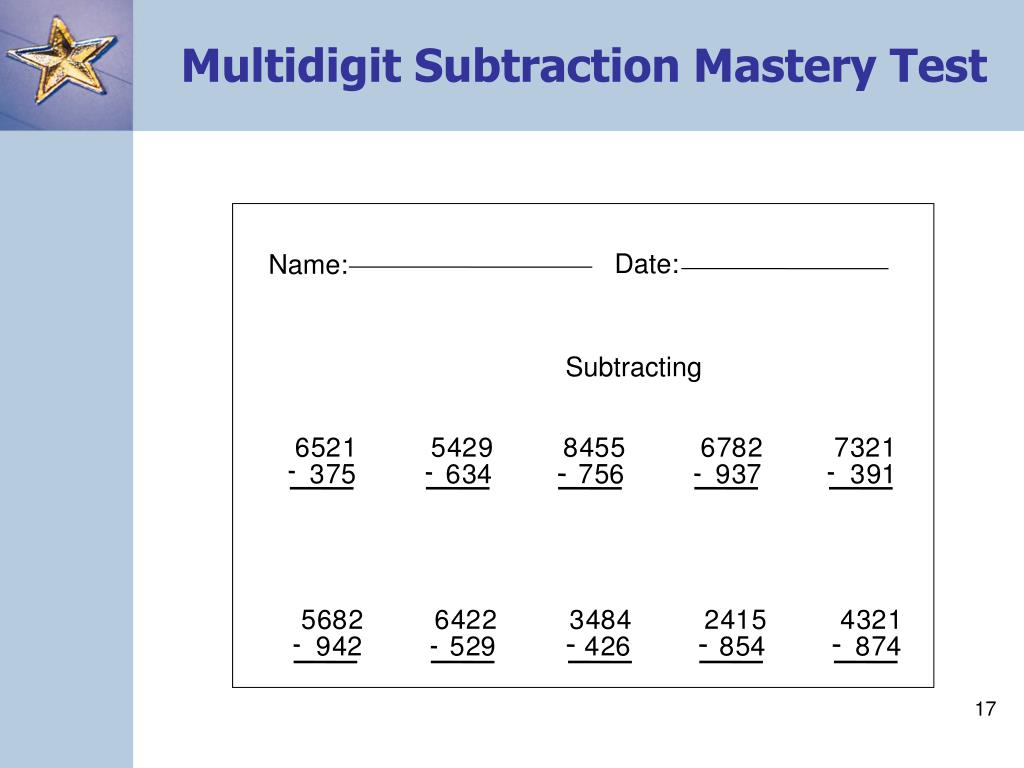 Multidigit Subtraction Mastery Test