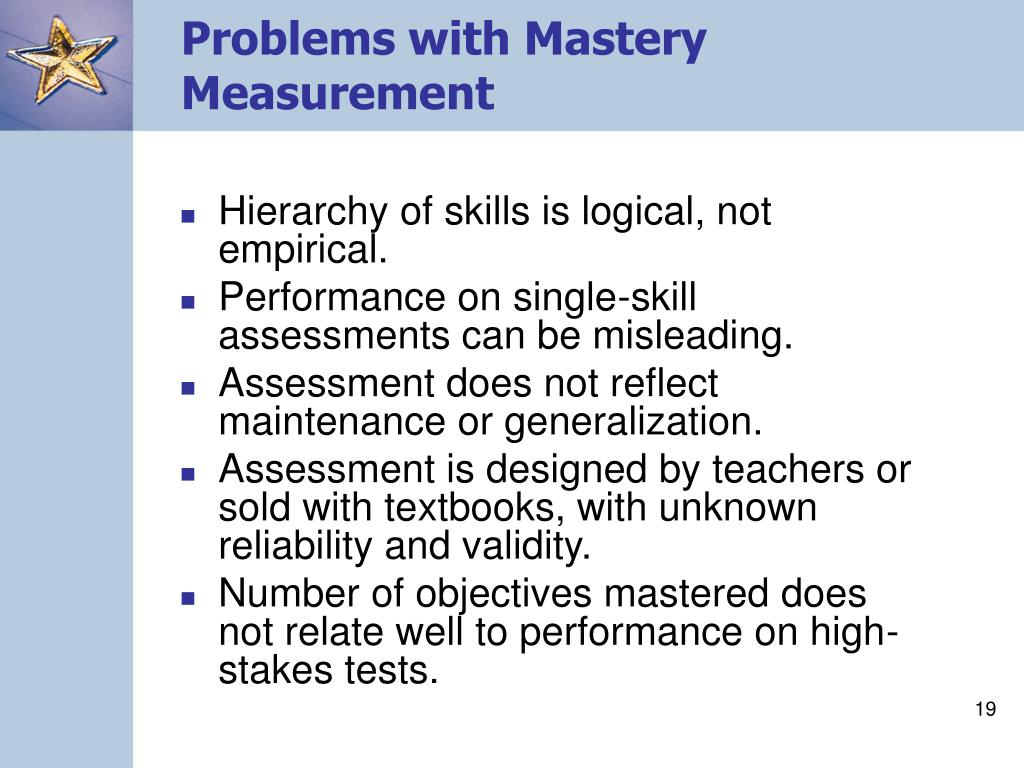 Problems with Mastery Measurement