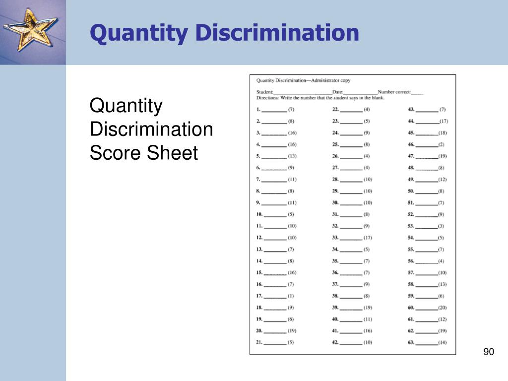 Quantity Discrimination Score Sheet