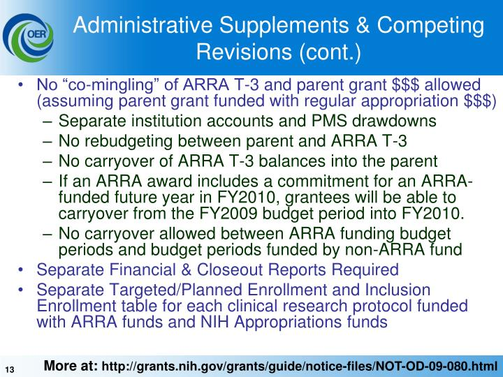 Administrative Supplements & Competing Revisions (cont.)