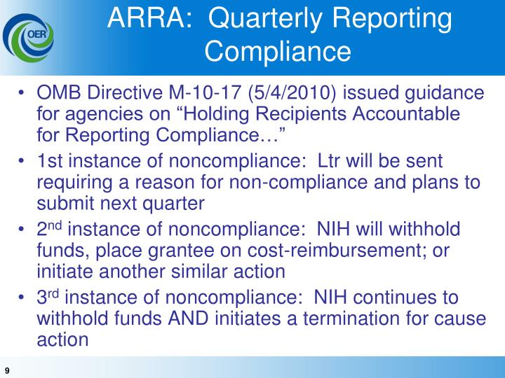 ARRA:  Quarterly Reporting Compliance