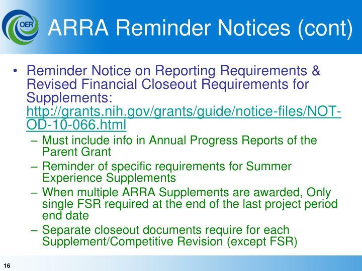 ARRA Reminder Notices (cont)