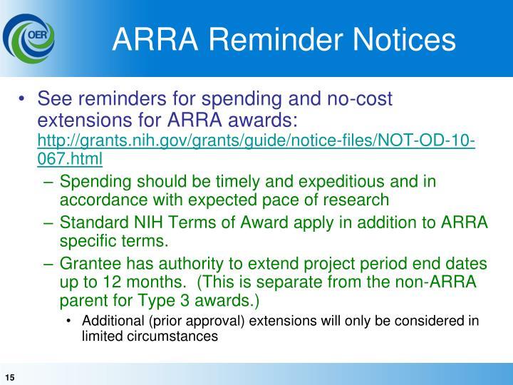 ARRA Reminder Notices