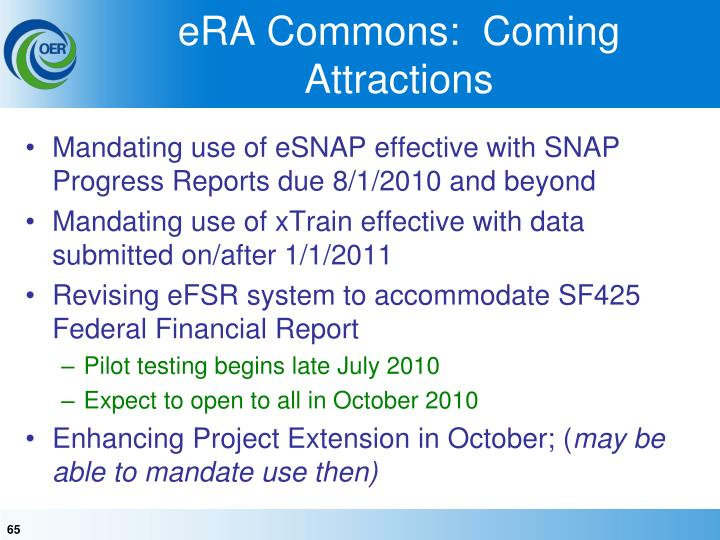 eRA Commons:  Coming Attractions