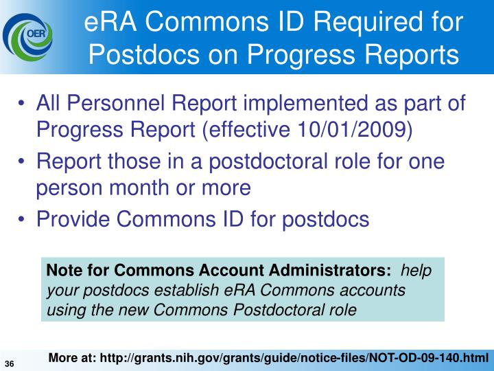 eRA Commons ID Required for Postdocs on Progress Reports