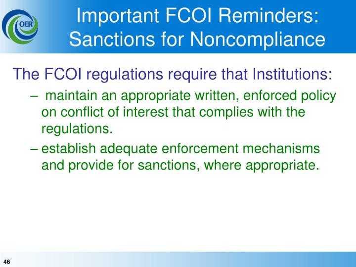 Important FCOI Reminders: