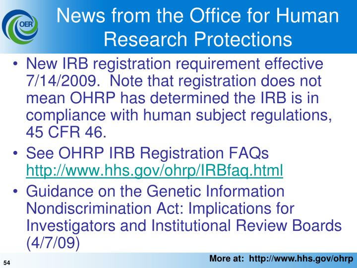 News from the Office for Human Research Protections