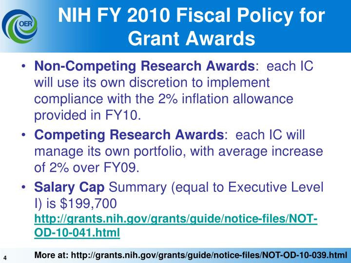 NIH FY 2010 Fiscal Policy for Grant Awards