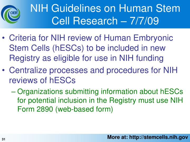 NIH Guidelines on Human Stem Cell Research – 7/7/09