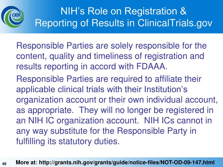 NIH's Role on Registration &