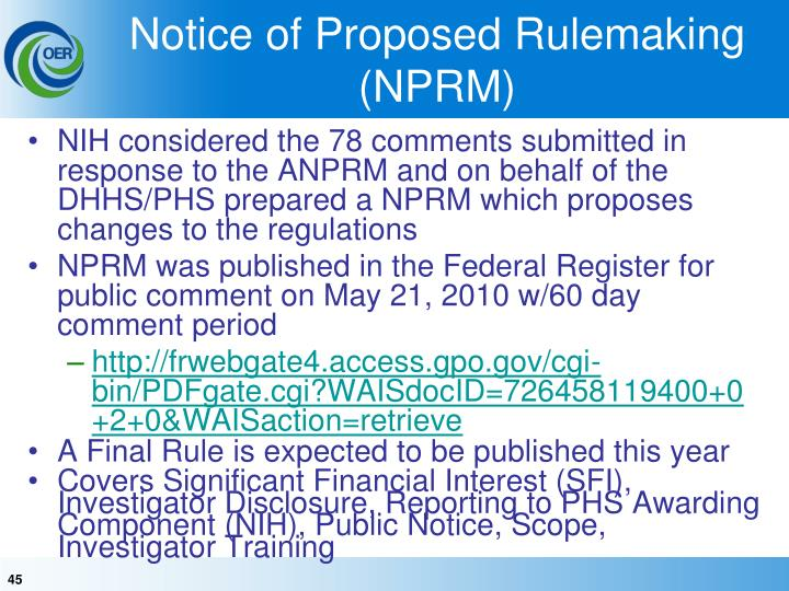 Notice of Proposed Rulemaking (NPRM)