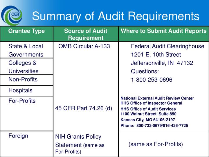 Summary of Audit Requirements