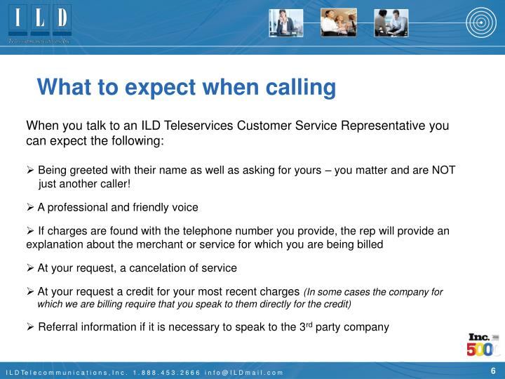 What to expect when calling