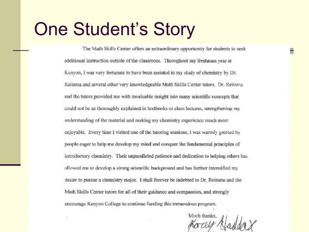 One Student's Story