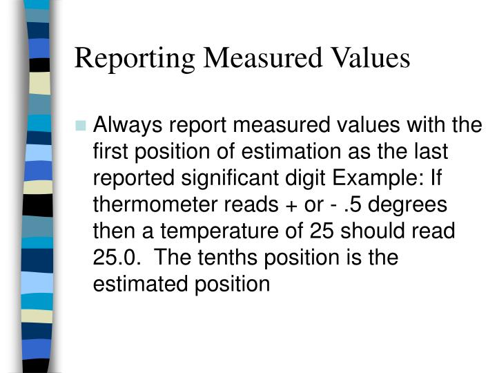 Reporting Measured Values