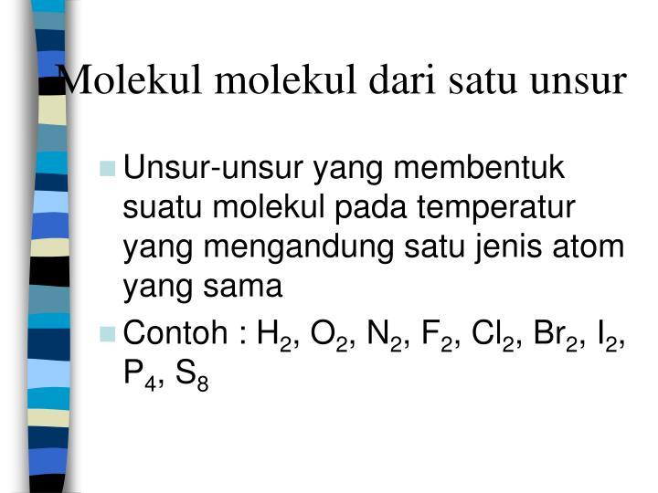 Molekul molekul dari satu unsur