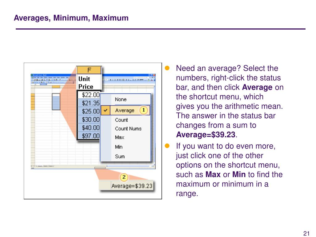 Averages, Minimum, Maximum