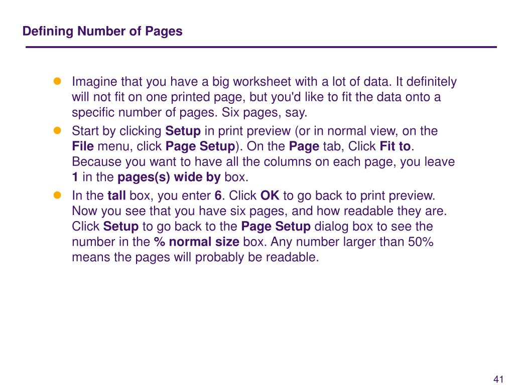 Defining Number of Pages