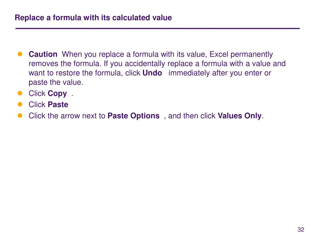 Replace a formula with its calculated value