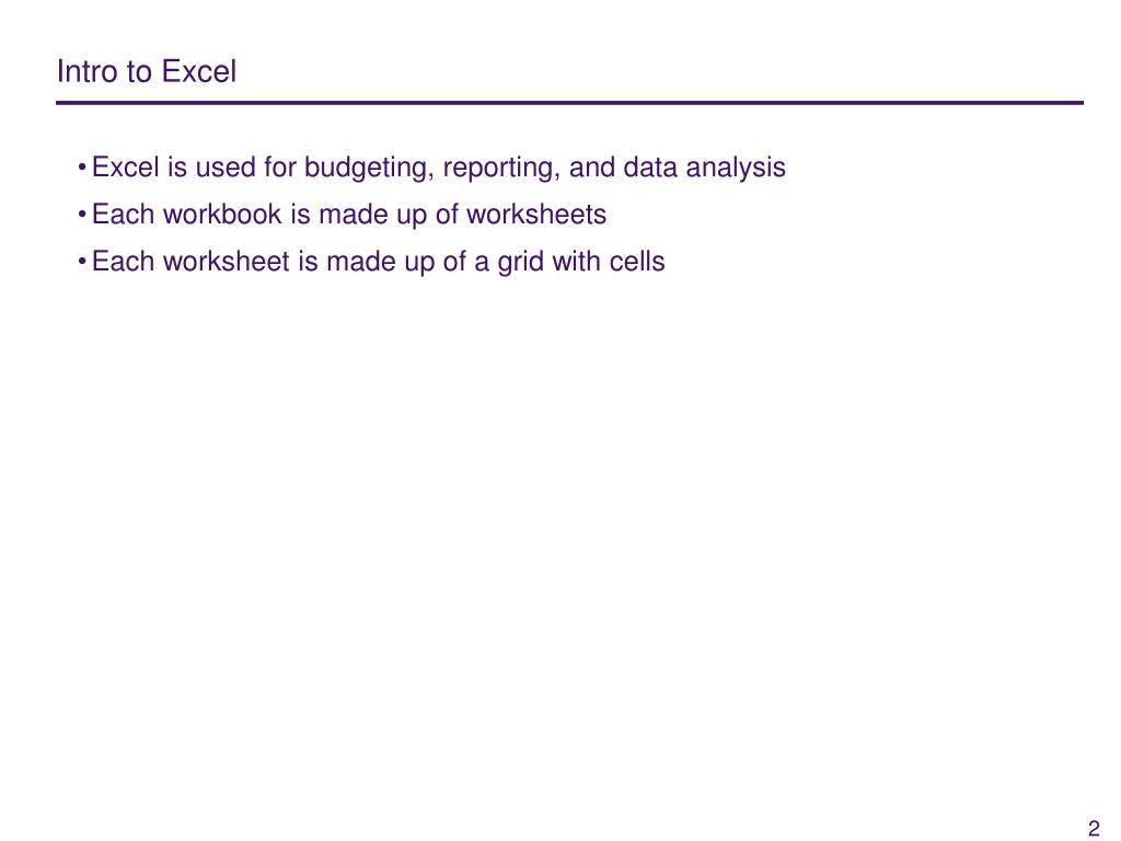 Intro to Excel