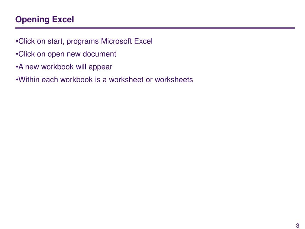 Opening Excel