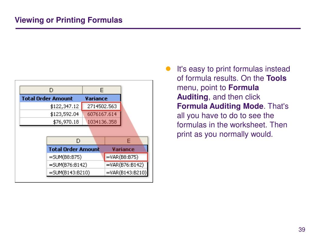 Viewing or Printing Formulas