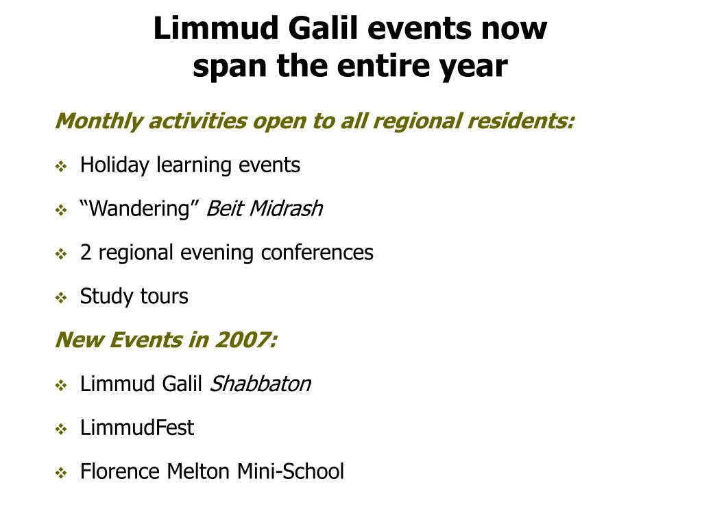 Limmud Galil events now