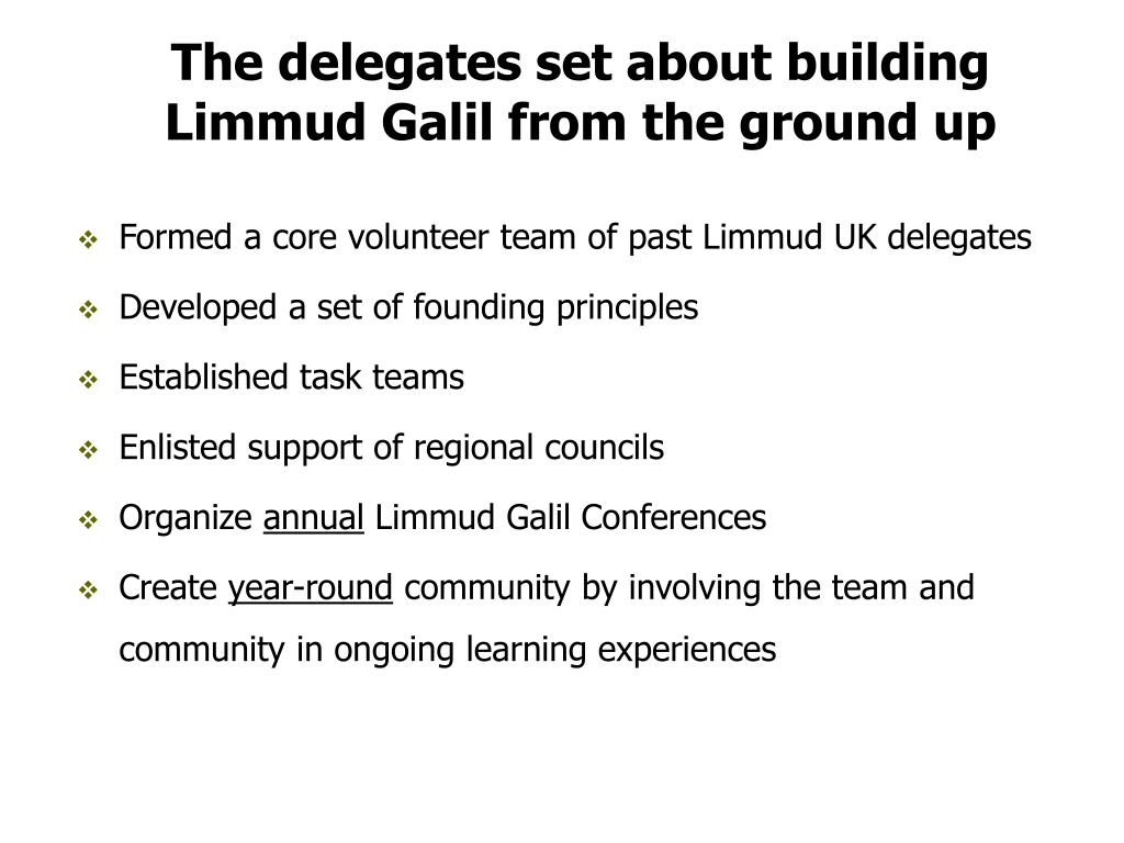 The delegates set about building Limmud Galil from the ground up