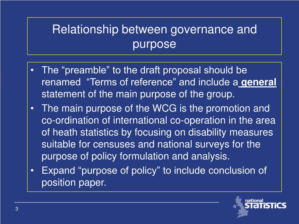 Relationship between governance and purpose