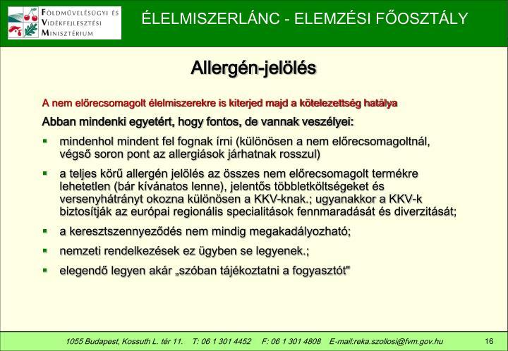 Allergén-jelölés