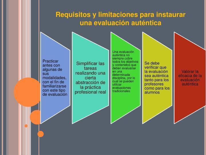Requisitos y limitaciones para instaurar una evaluación auténtica