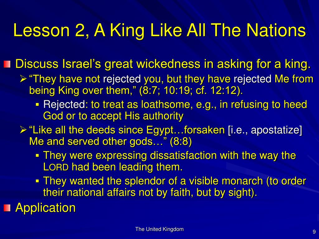 Lesson 2, A King Like All The Nations