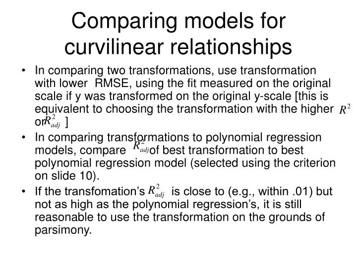 Comparing models for curvilinear relationships