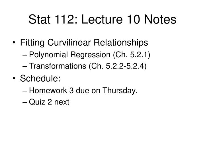 Stat 112 lecture 10 notes