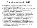 transformations in jmp