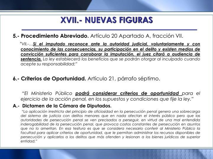 XVII.- NUEVAS FIGURAS